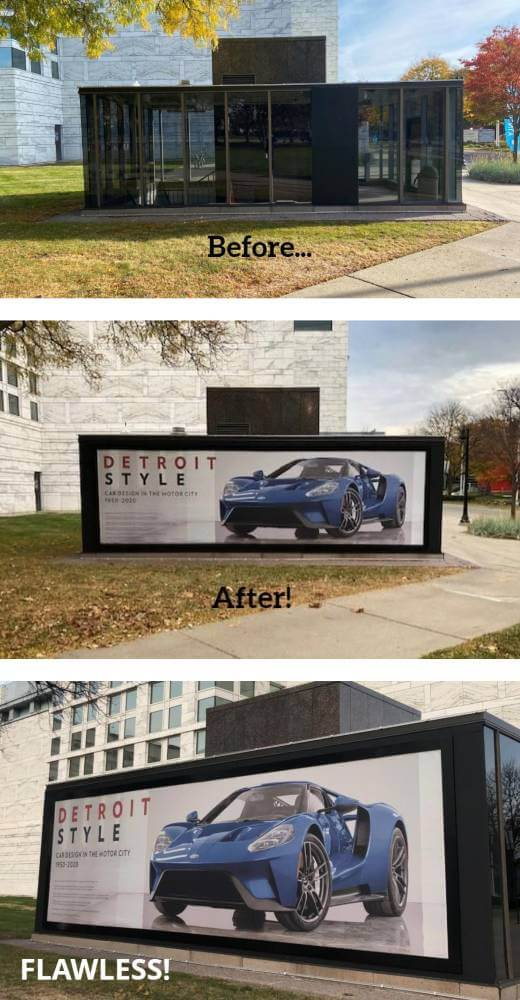 Before-and-After-BannerFrame-Installation-1 Tough as Detroit... Perfect as Fine Art!